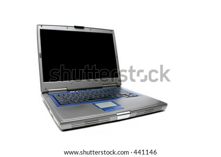 modern laptop or notebook computer over white