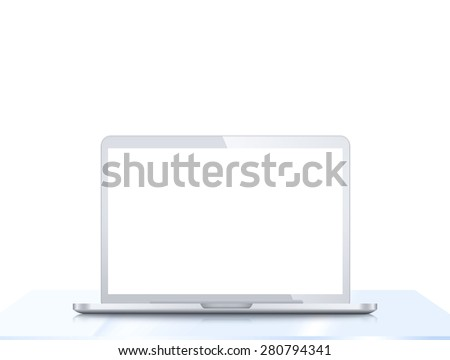 Modern laptop PC on glass table isolated on white background - stock photo