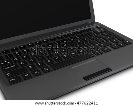 Modern Laptop PC with blank LCD screen isolated on white background - closeup of keyboard (3D rendering)