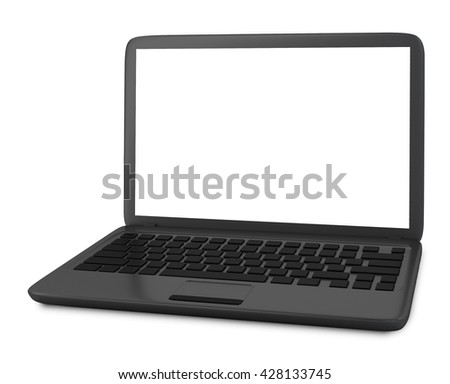 Modern Laptop PC with blank LCD screen isolated on white background (3D rendering) - stock photo