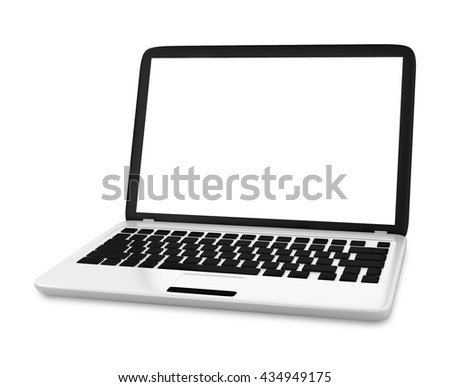 Modern Laptop PC with blank LCD screen isolated on white background (3D rendering)