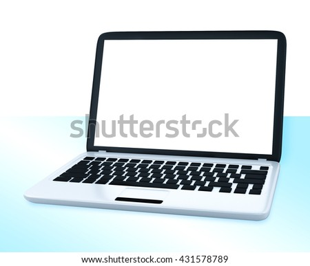 Modern Laptop PC with blank LCD screen on glass table isolated on white background (3D rendering) - stock photo
