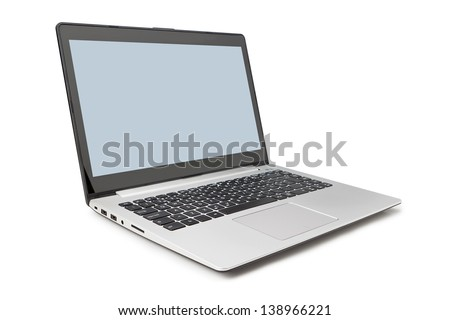 Modern laptop side and open on a white background. - stock photo