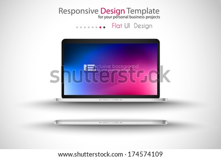 Modern Laptop template with an abstract colorful background on the screen
