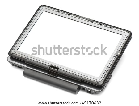 modern laptop with a touch screen format tablet-pc - stock photo