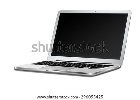 Modern laptop with black screen and shadows isolated on white background. Highly detailed illustration.