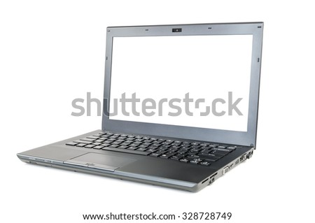 Modern laptop with blank screen isolated on white background with clipping path - stock photo