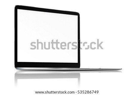 Modern laptop with blank screen, reflection and shadows isolated on white background. 3D illustration.
