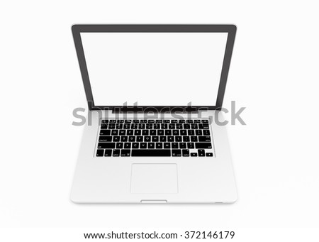 Modern laptop with blank white screen on white background - stock photo
