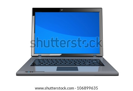 Modern laptop with blue screen isolated on a white background - stock photo