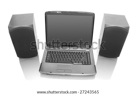modern laptop with computer speakers
