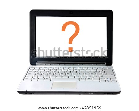 Modern laptop with question mark on screen isolated on white - stock photo