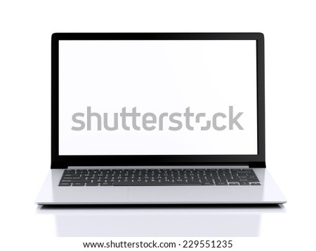 Modern Laptop with white screen. 3d illustration  - stock photo