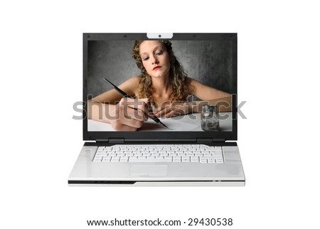 modern laptop with woman writing with ink pen on the screen isolated
