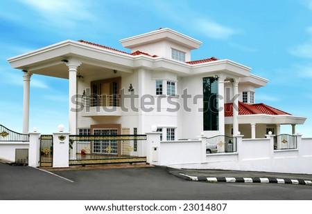 modern large house - stock photo