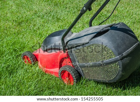 Modern lawn mower on a green lawn. Mowing the lawn with an electric mower with a container to collect the cut grass.