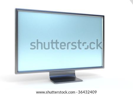 Modern lcd computer monitor. Isolated on white with light shadow