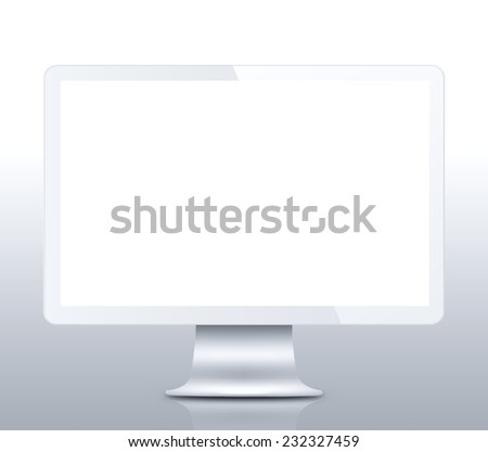 Modern LCD computer monitor (LCD display panel) on reflective background - stock photo