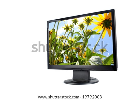 Modern lcd monitor isolated - stock photo