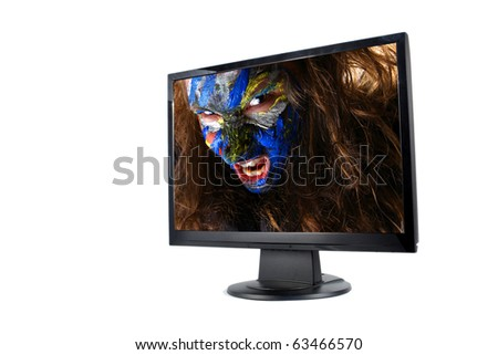 Modern lcd monitor isolated with picture of girl - stock photo