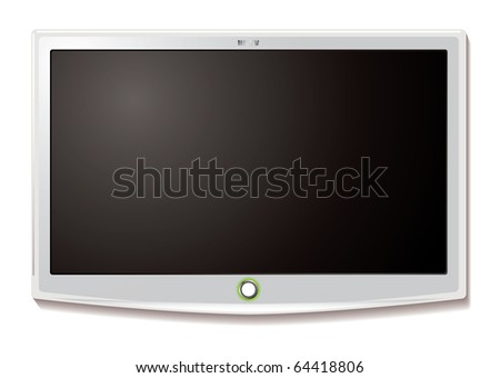 Modern LCD TV hanging on wall with blank screen - stock photo