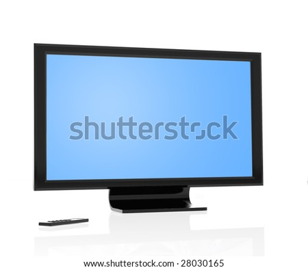 Modern lcd tv/monitor and remote control isolated over white - stock photo