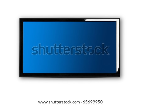 Modern lcd TV on a white wall - stock photo