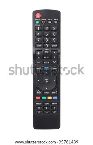 Modern LCD TV remote control isolated on white - stock photo