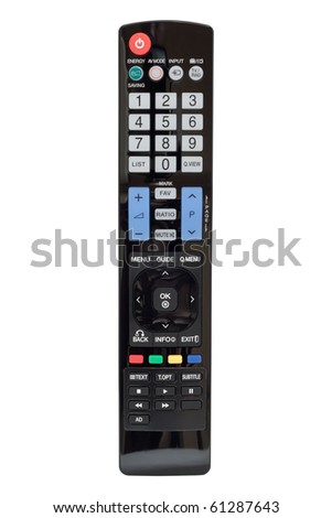 Modern LCD TV remote control. Isolated on white background white background with clipping path - stock photo