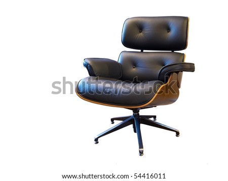 Modern leather arm chair isolated on white - stock photo