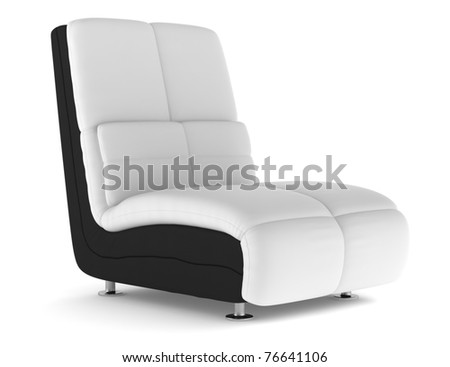modern leather armchair isolated on white background