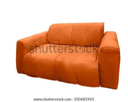 Modern leather orange sofa isolated on white background - stock photo