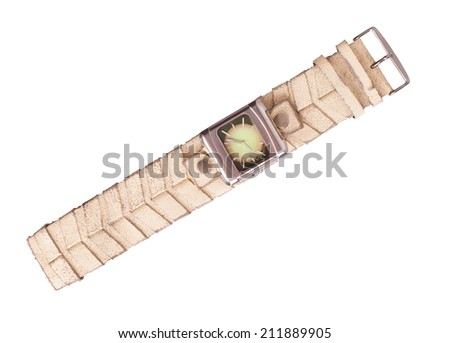 Modern leather wristwatch, isolated on white background - stock photo