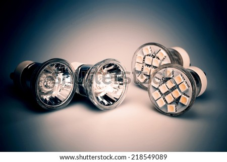 Modern LED bulbs - the light of future - stock photo