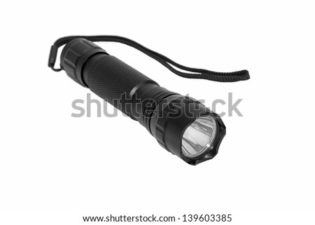 Modern LED torch isolated on a white background. - stock photo