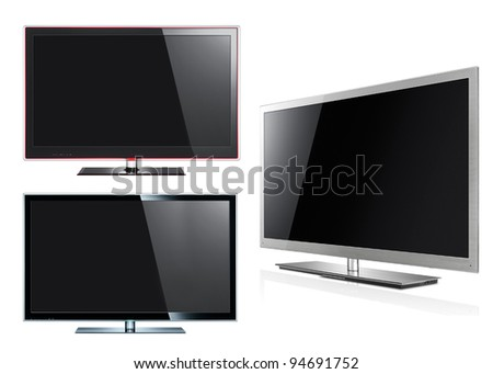 Modern LED tv panels isolated on white - stock photo