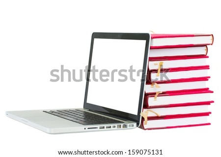 modern library concept - books and laptop with copy space on screen  isolated on white background - stock photo