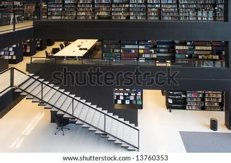 Modern library interior - stock photo