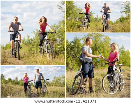 Modern lifestyle: sporty happy couple riding bicycles - stock photo