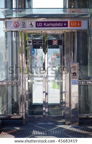 Modern lift for invalids at the underground passage. Vienna Austria. - stock photo