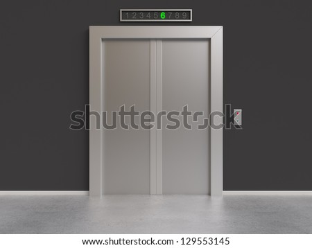 modern lift with closed doors, 3d render - stock photo