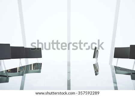 Modern light conference room with glass table, chairs and big windows - stock photo