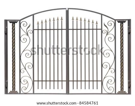 Modern light decorative forged  gates.  Isolated over white background. - stock photo