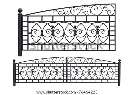 Modern light, forged, decorative gates.  Isolated over white background. - stock photo