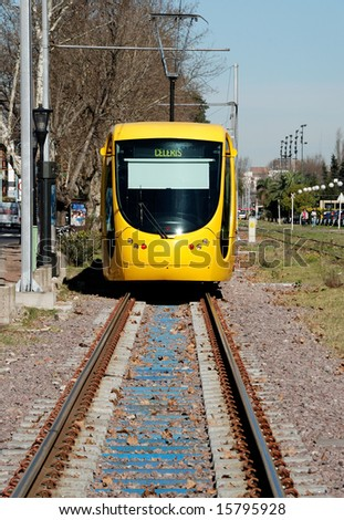 Modern light rail trolley in Buenos Aires, Argentina - stock photo