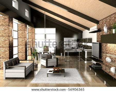 modern living a room with a dining zone 3D - stock photo
