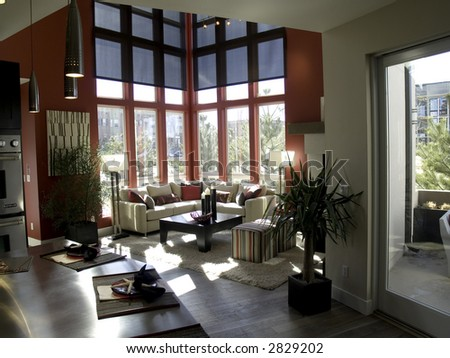 modern living room and kitchen design - stock photo