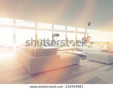 Modern Living Room Area Near Glass Windows Inside Architectural House Illuminated by Sunlight. 3D Rendering.  - stock photo