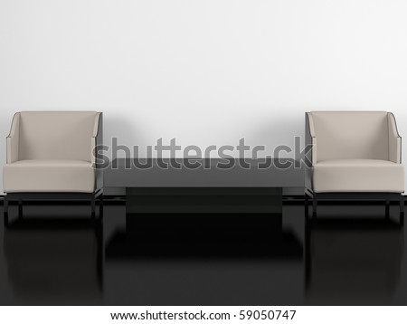 Modern living room, black glossy floor white wall, two modern armchairs with coffee table, 3d render/illustration - stock photo