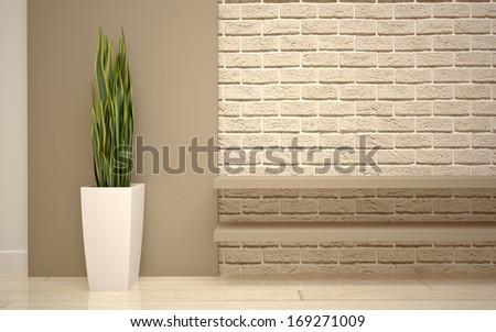 Modern living room bright beige shades - stock photo